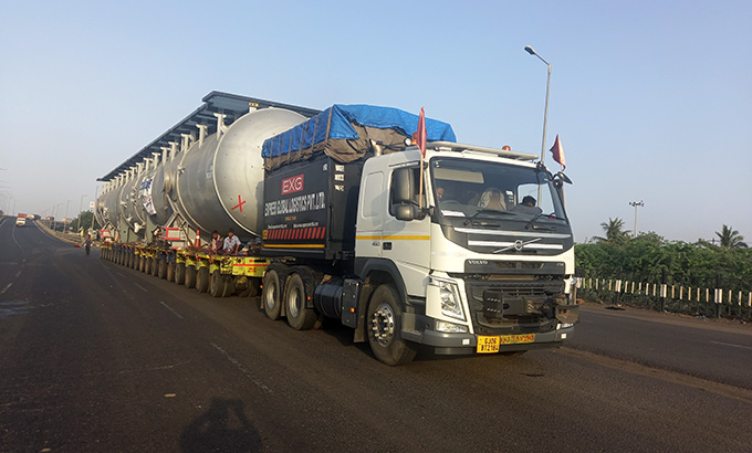 A large truck on a road  Description automatically generated with low confidence
